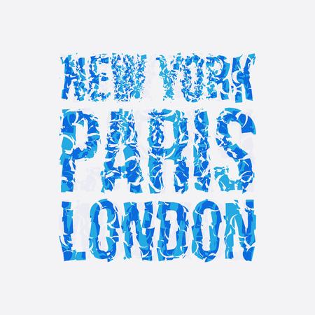Capital New York Paris 런던 인쇄술, 티셔츠 그래픽, 벡터