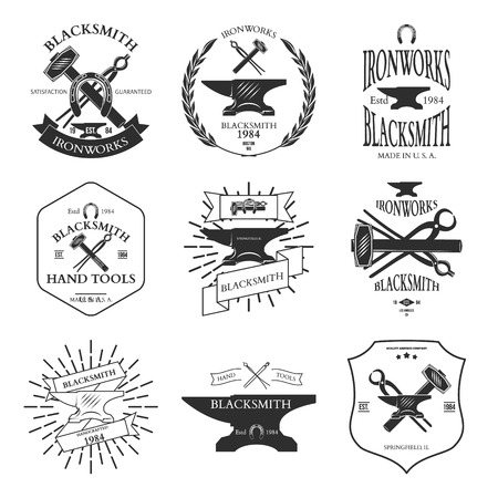 Set of vintage blacksmith labels and design elements vector illustration Imagens - 42460378