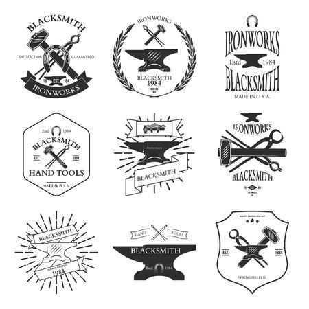 weld: Set of vintage blacksmith labels and design elements vector illustration