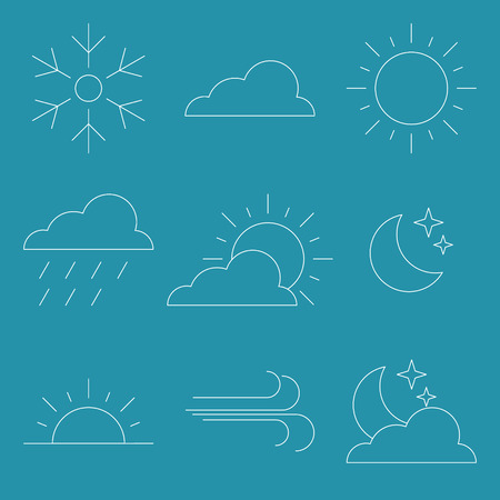ios: Flat style Thin line Icon Weather Vector illustration