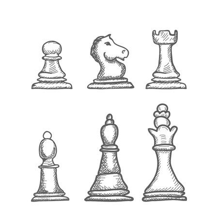 ajedrez: Mano grabado dibujado ilustración vectorial Figuras de ajedrez