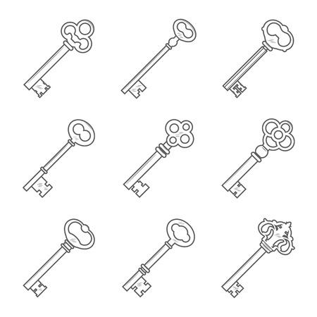 latchkey: Set of nine keys silhouettes vector illustration