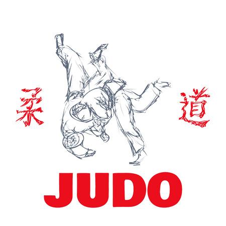 judo: El deporte del judo camiseta impresión gráfica ilustración vectorial