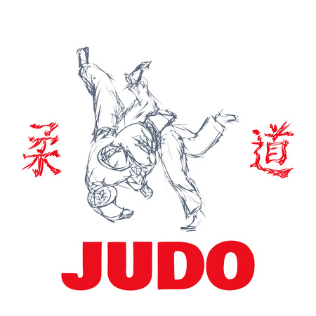 Judo sport t-shirt graphic print vector illustration