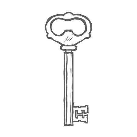 latchkey: Hand Drawn Key isolated on white background vector illustration Illustration