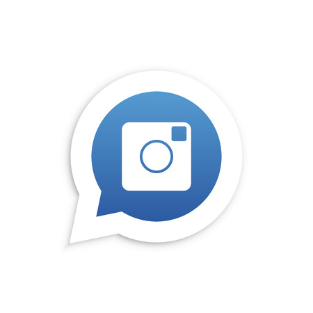 friend nobody: Blue Camera in speech bubble icon Vector illustration Illustration
