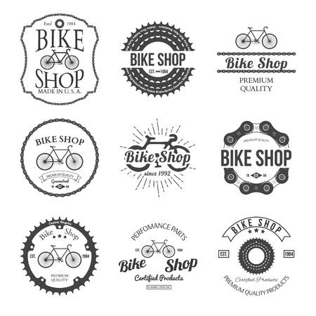 ヴィンテージとモダンな自転車ショップのロゴのバッジのセットし、ラベル ベクトル イラスト  イラスト・ベクター素材