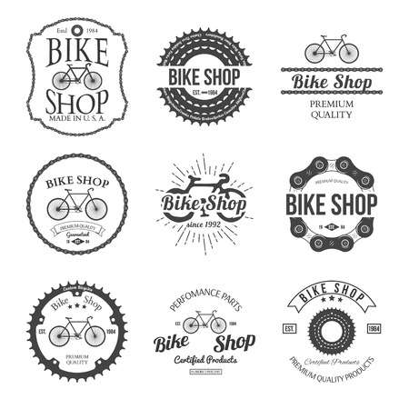 mountain bicycle: Set of vintage and modern bicycle shop logo badges and labels vector illustration
