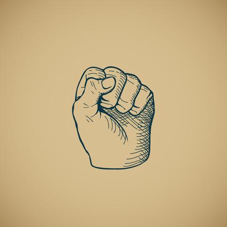 sketched shapes: Hand drawn sketch vintage fist vector illustration