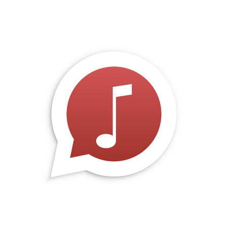 friend nobody: Red Music Note in speech bubble icon Vector illustration