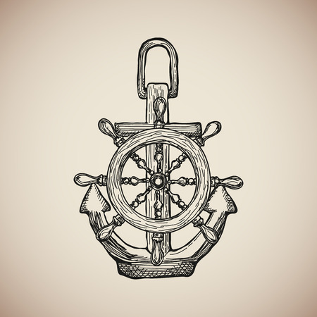 iron ribbon: Vintage Marine Anchor with Steering Wheel isolated engrave. Vector illustration Illustration