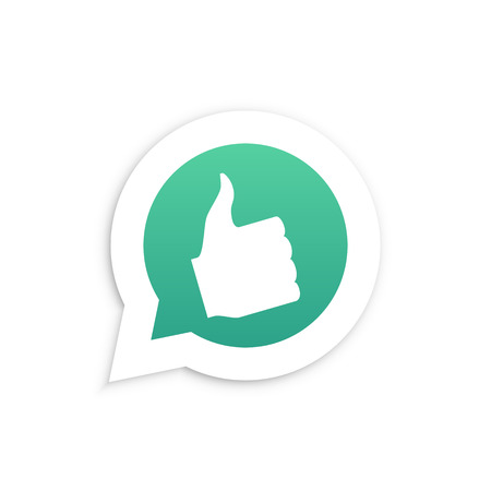 friend nobody: Thumbs Up Hand in speech bubble icon Vector illustration