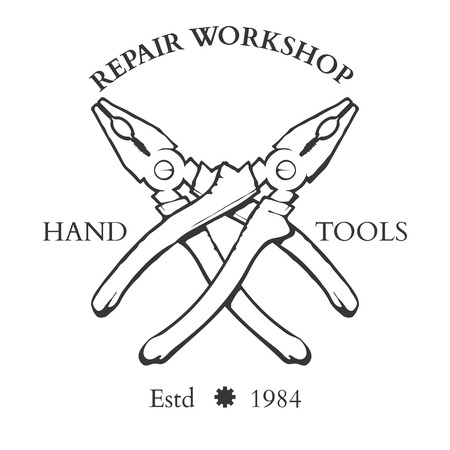 woodsman: Set of vintage carpentry hand tools, repair service, labels and design elements vector illustration Illustration