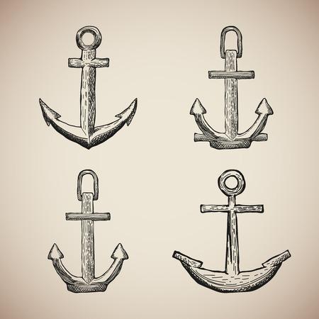 reise retro: Set Vintage Marine-Anker isoliert gravieren. Vektor-Illustration Illustration