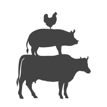 Chicken Pork Cow Farm Animals Vector illustration  イラスト・ベクター素材
