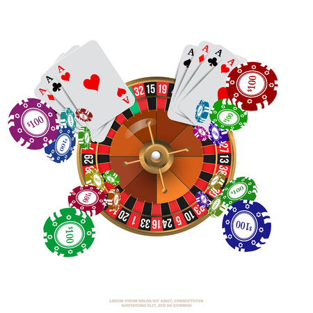 Casino Roulette Playing Cards witn Falling Chips. Vector illustration Stock fotó - 44329473