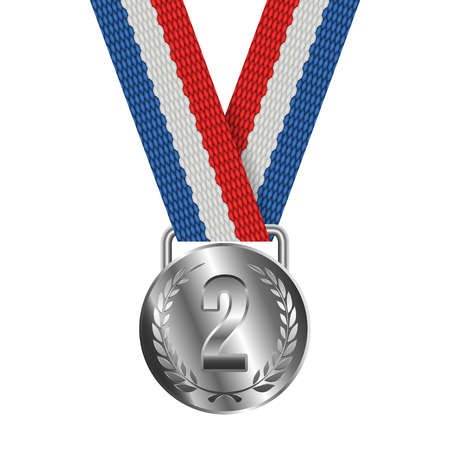 silver medal: Silver Medal Isolated on White Background Vector illustration