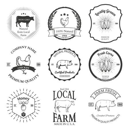 Set of agriculture vector label design elements Illustration