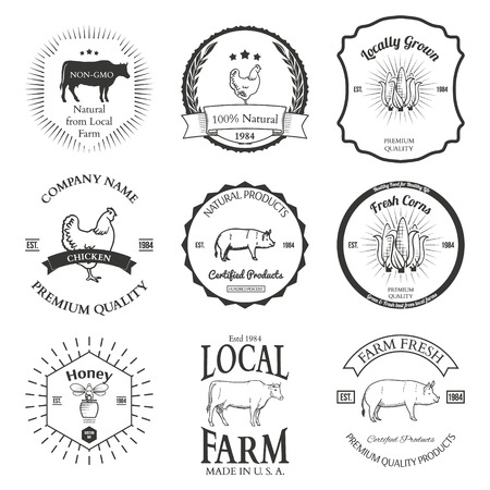 Set of agriculture vector label design elements Illustration