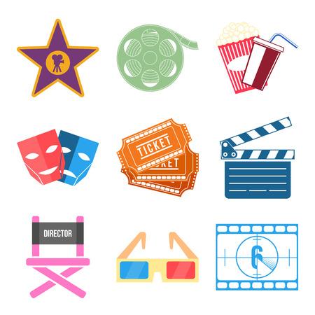 theatre symbol: Set of Movie Icons Flat design Vector Illustration