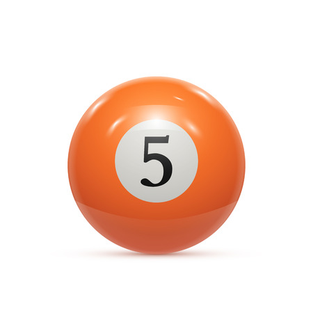 bola ocho: Billar de cinco balón aislado en un fondo blanco ilustración vectorial