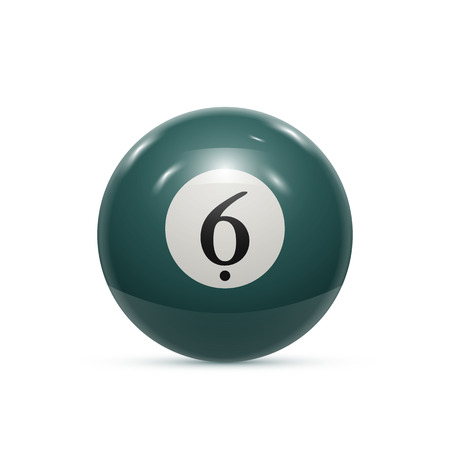 pocket billiards: Billiard six ball isolated on a white background vector illustration