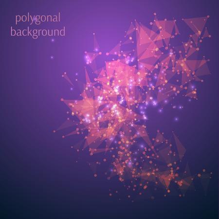arte abstracto: Baja poli tecnolog�a de fondo geom�trico abstracto del vector con estructura de conexi�n. L�nea de decoraci�n elemento de dise�o y punto, transforman la forma. Ilustraci�n vectorial