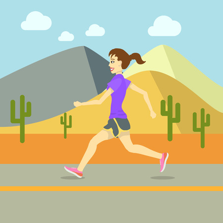 one person only: Running Women, Sport Exercising Flat Design Vector illustration