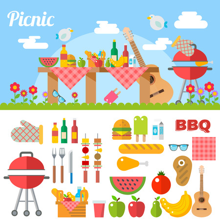 outdoor party: Flat Design Picnic BBQ elements Vector Illustration