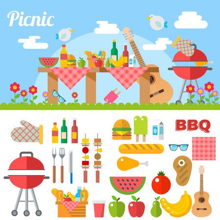 summer picnic: Flat Design Picnic BBQ elements Vector Illustration