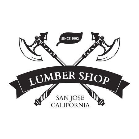 lumber: Lumber Shop Label Design Elements Vector Illustration