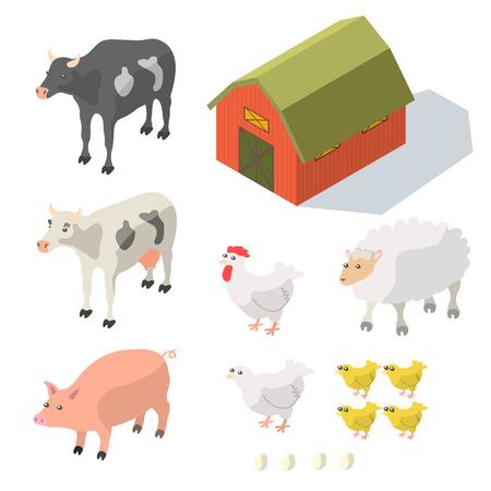 farm equipment: Isometric Farm Animals Isolated on White Vector illustration