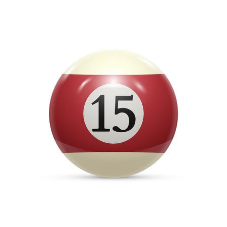 fifteen: Billiard fifteen ball isolated on a white background vector illustration