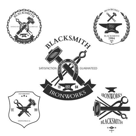 Conjunto de etiquetas de herrero vintage y elementos de diseño de ilustración vectorial Vectores
