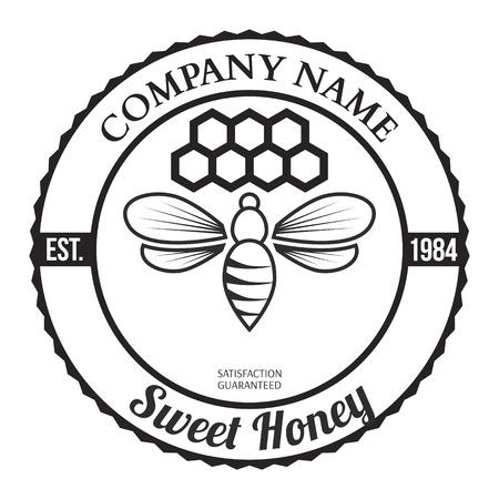 Vintage frame with Honey label template Vector Illustration Illustration