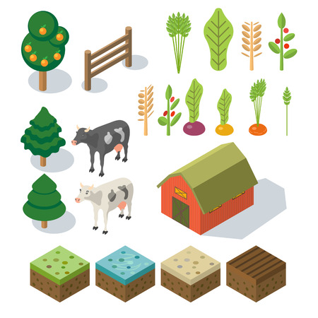 farm equipment: Isometric Farm in village. Elements for game: sprites and tile sets. tree, vegetables, farm building, cow. Vector flat illustrations Illustration