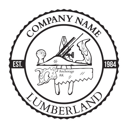 Lumber Shop Label Design Elements Vector Illustration