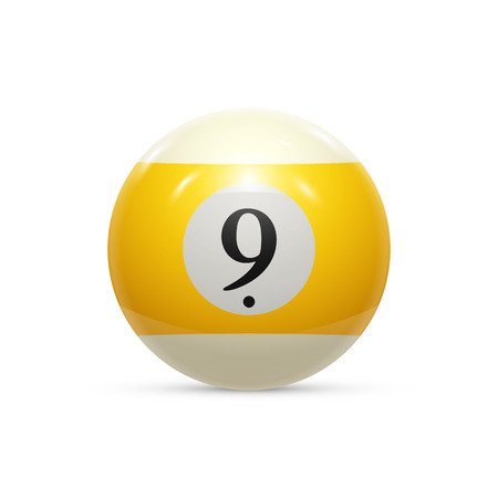 eightball: Billiard nine ball isolated on a white background vector illustration