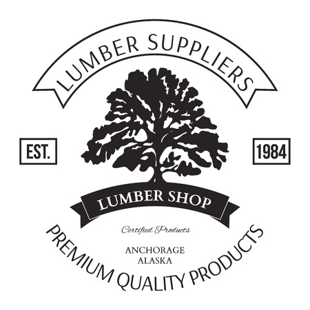 woodsman: Lumber Shop Label Design Elements Vector Illustration