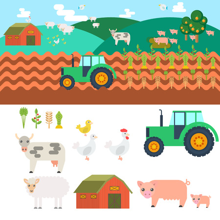 farm equipment: Farm in village. Elements for game: sprites and tile sets. tree, vegetables, farm building, cow. Vector flat illustrations