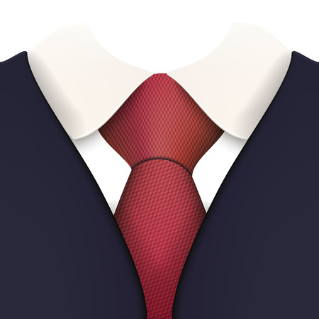 Suit with Necktie Close up Vector Illustration