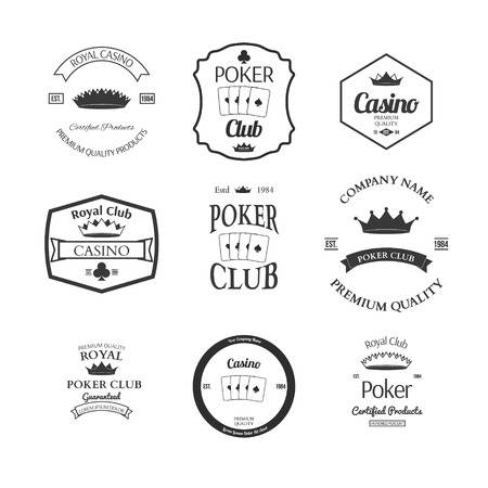 casino dealer: poker club and casino emblems set isolated vector illustration