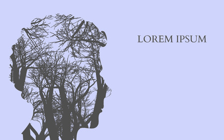 Double exposure Man Silhouette and tree. Double exposure Vector illustration.