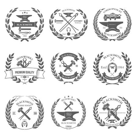 Ensemble d'étiquettes de forgeron vintage et des éléments de design illustration vectorielle Banque d'images - 47035628