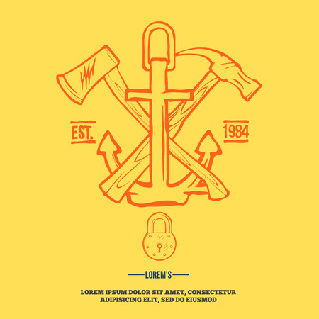 hummer: Vintage design elements labels anchor with crossed axe and hummer vector illustration