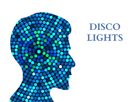 contemplation: Double exposure Man Silhouette and Disco Lights. Double exposure Vector illustration Illustration
