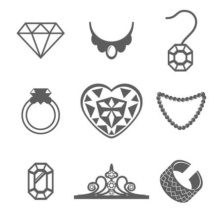 diamond necklace: Set of Jewelry Icons ring gem necklace Vector illustration Illustration