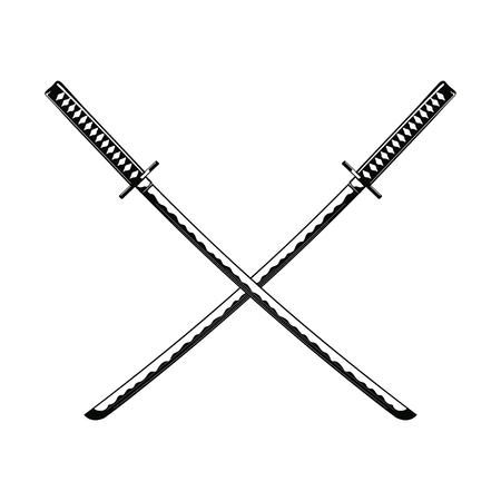 warrior sword: Crossed Samurai Swords isolated on white background Vector illustration