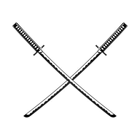 Gekreuzte Samuraischwerter isoliert auf weißem Hintergrund Vektor-Illustration