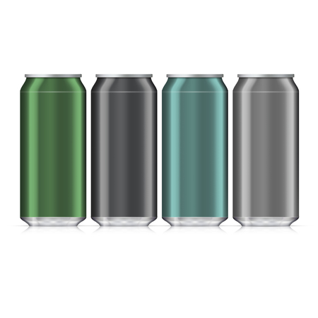 carbonated beverage: Aluminum Beverage Drink Can. Illustration Isolated. Mock Up Template Ready For Your Design.